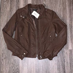 Brown Pleather Jacket, size Medium